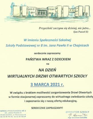 Drzwi Otwarte Szkoły (3 III)  - zaproszenie